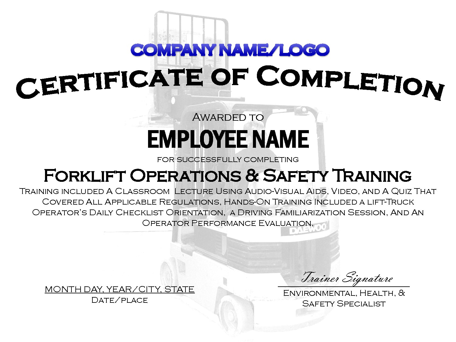 Forklift Operator Certificate Template 9 Best Images Of Printable Safety Certificates Safety