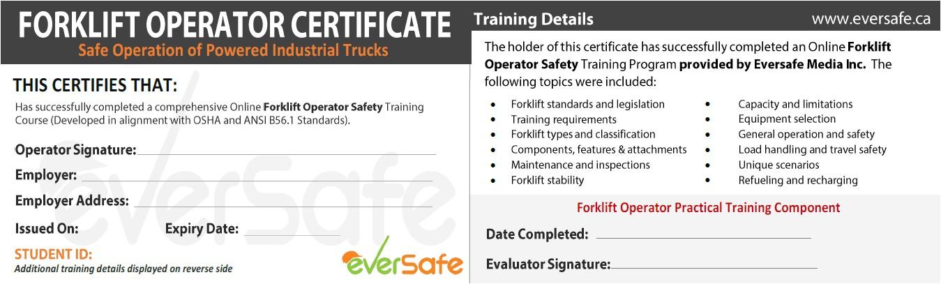 online lift truck certification training