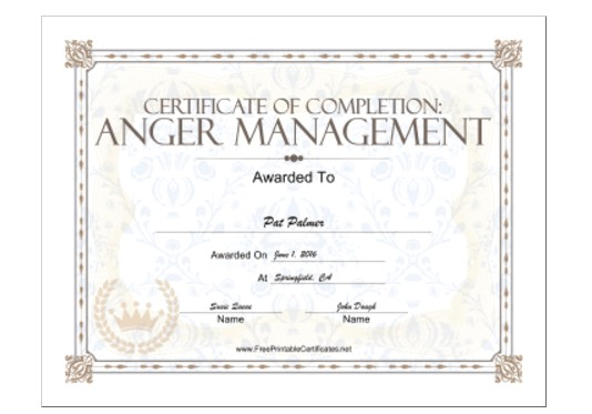 Free Anger Management Certificate Of Completion Template 18 Free Certificate Of Completion Templates Utemplates