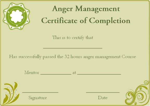 Free Anger Management Certificate Of Completion Template Anger Management Certificate Of Completion Template