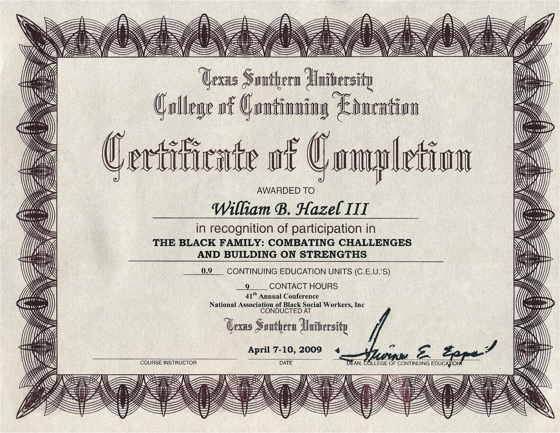 Free Anger Management Certificate Of Completion Template College University Texas southern University College Of