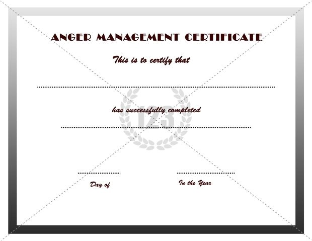 Free Anger Management Certificate Of Completion Template Good Anger Management Certificates Download
