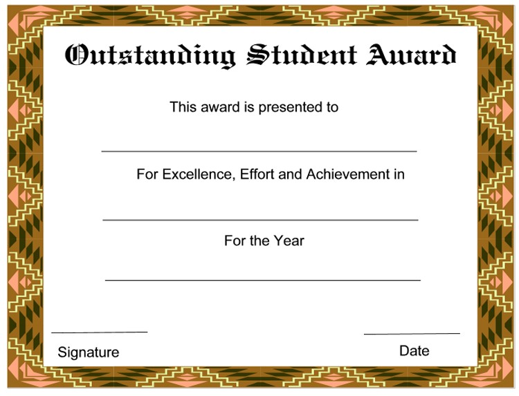 outstanding student new award certificates template