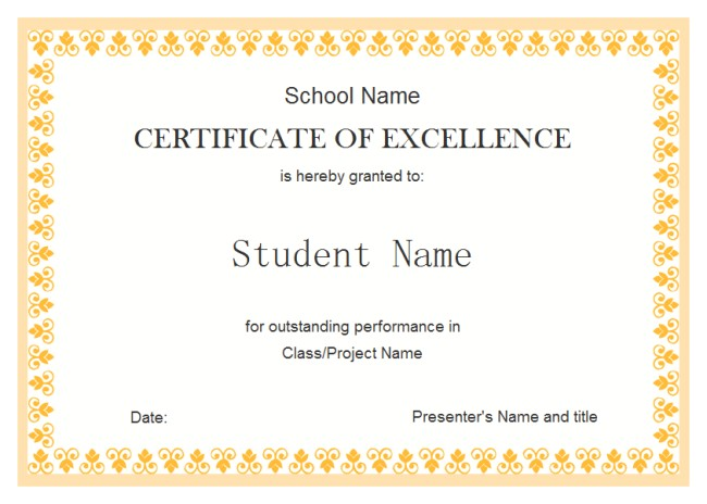 perfect example of editable certificate of excellence template for student with orange floral pattern and white background