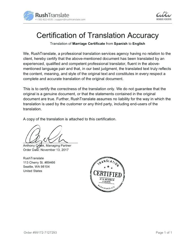 Free Birth Certificate Translation Template From English to Spanish Template Birth Certificate Translation Template Spanish