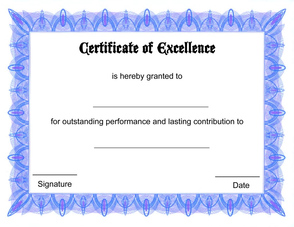 Free Blank Certificate Templates Blank Certificate Templates Kiddo Shelter