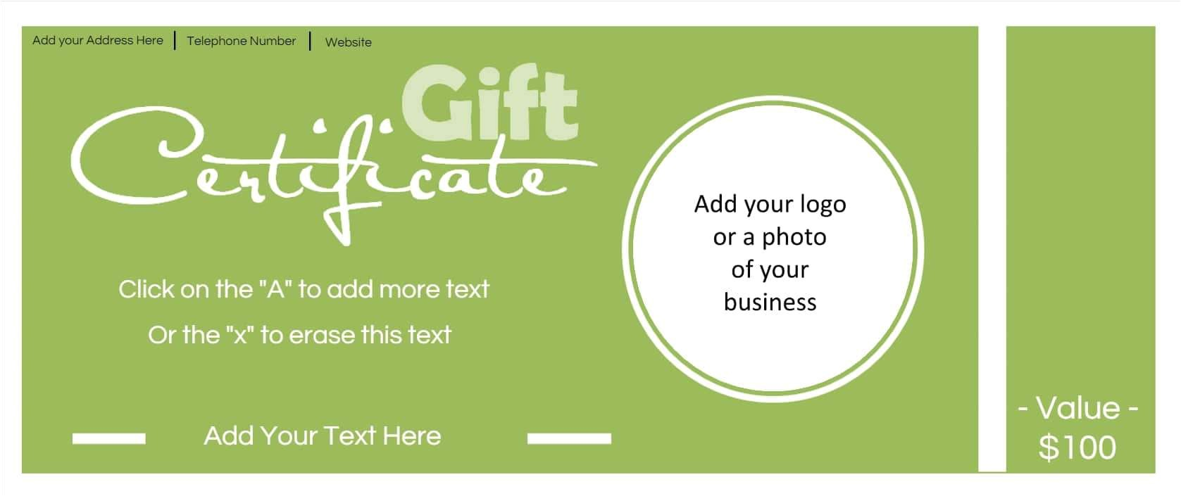 Free Business Gift Certificate Template with Logo Gift Certificate Template with Logo