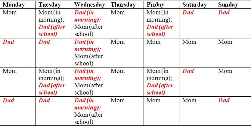 Free Child Custody Calendar Template Blank Visitation Calendar Calendar