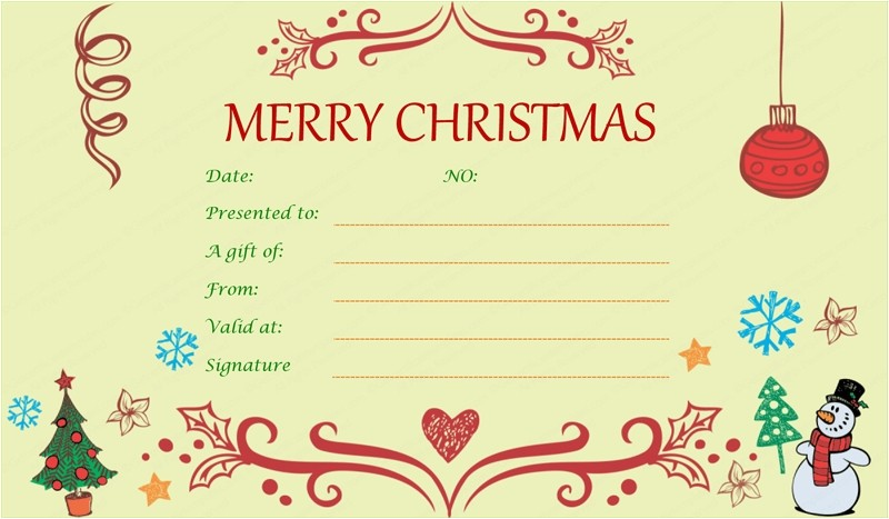 xmas gift certificate template