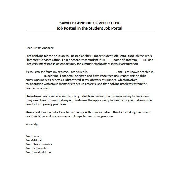 sample free cover letter