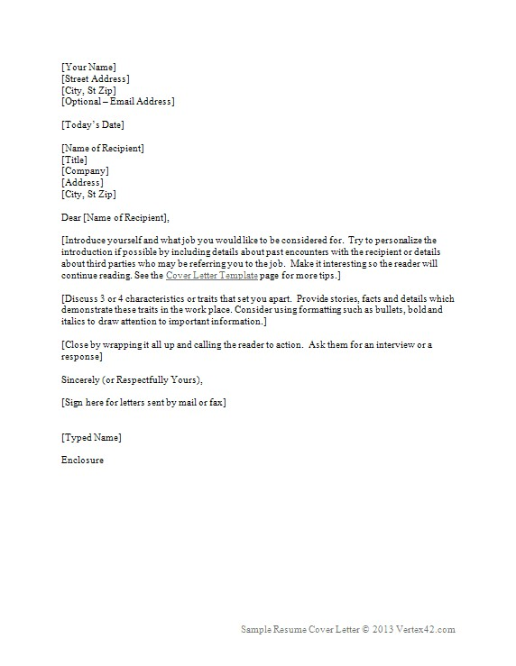 Free Cover Letter and Resume Templates Resume Cover Letter Template for Word Sample Cover Letters