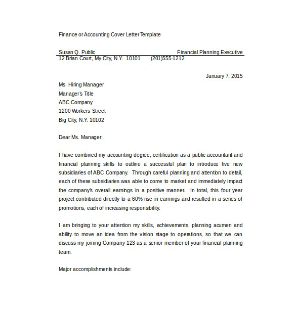 sample employment cover letter