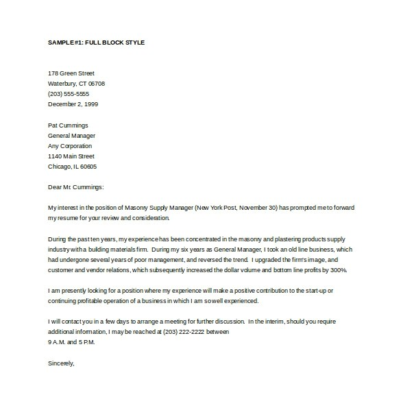 Free Cover Letter Templates Word General Cover Letter Example Letter Of Recommendation