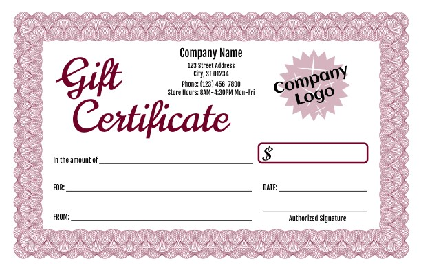 Free Gift Certificate Template with Logo formal Gift Certificate Templates 3 and 4