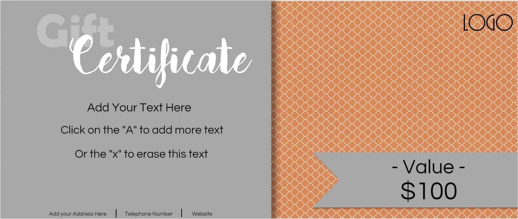 gift certificate template logo