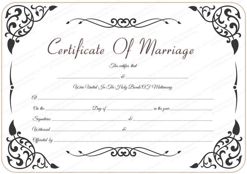 post marriage certificate template 492424