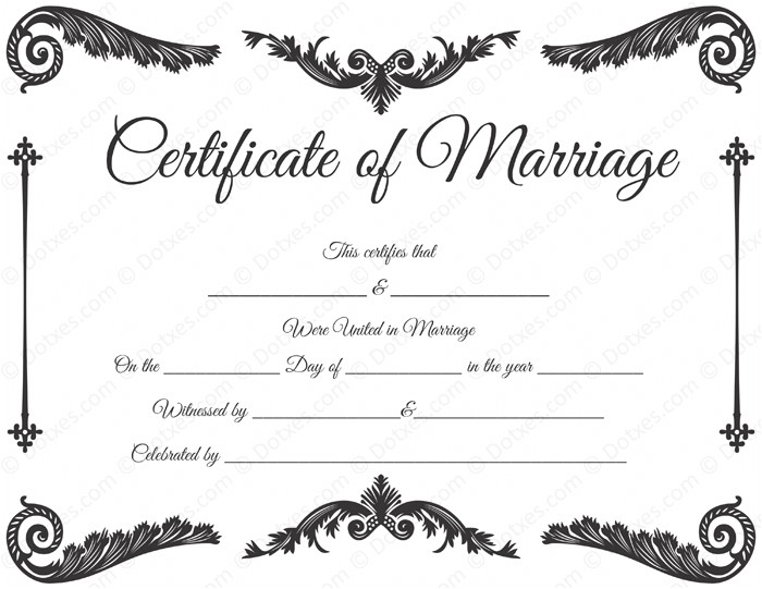 royal corner marriage certificate template