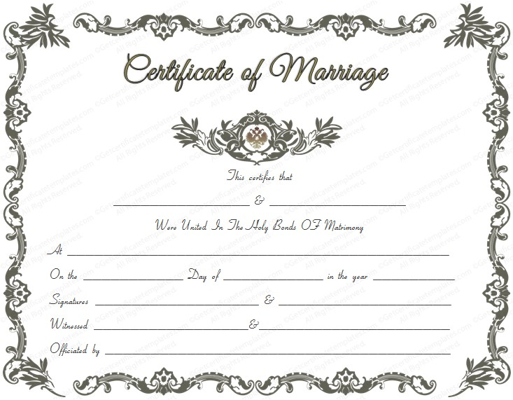 royal marriage certificate template