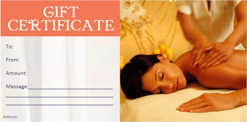 Free Massage therapy Gift Certificate Template Gift Certificate Templates Beauty and Spa Gift Certificates