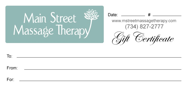 Free Massage therapy Gift Certificate Template Gift Certificates Main Street Massage therapy