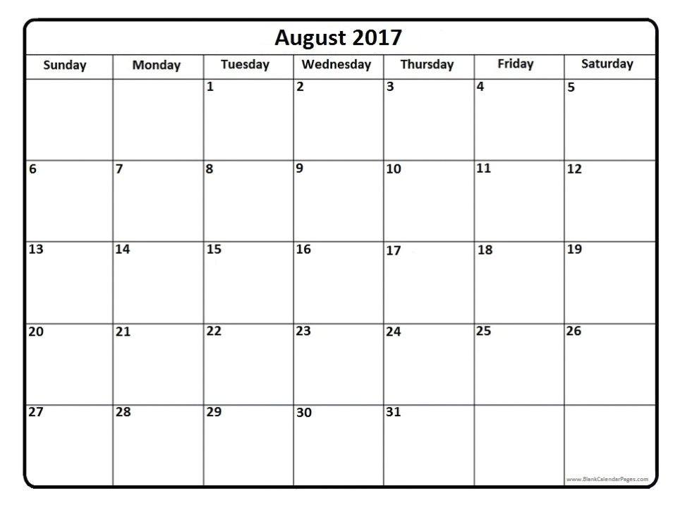 august 2017 calendar template free