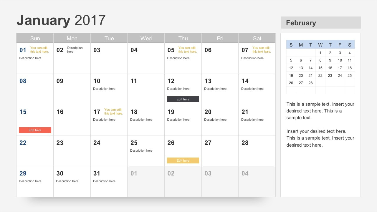 Free Photo Calendar Template 2017 Free Calendar 2017 Template for Powerpoint
