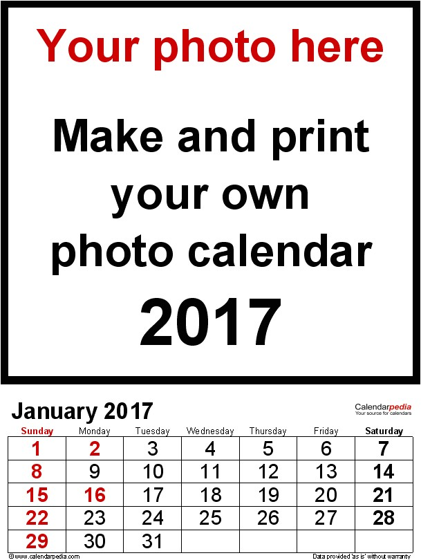 Free Photo Calendar Template 2017 Photo Calendar 2017 Free Printable Excel Templates