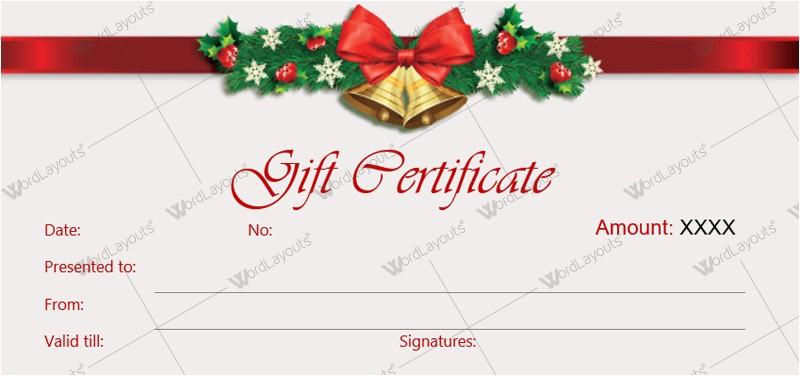 Free Printable Christmas Gift Certificate Template Word Christmas Gift Certificate Templates for Word Editable
