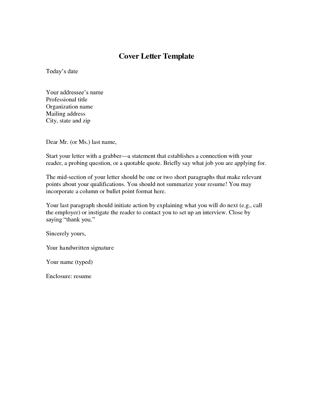 download cover letter template
