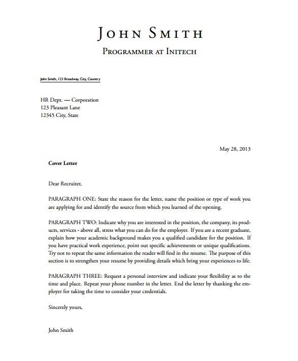 sample latex cover letter