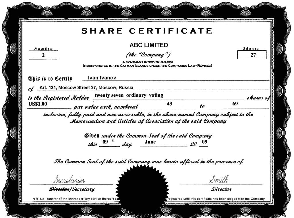 sharestock certificate sample