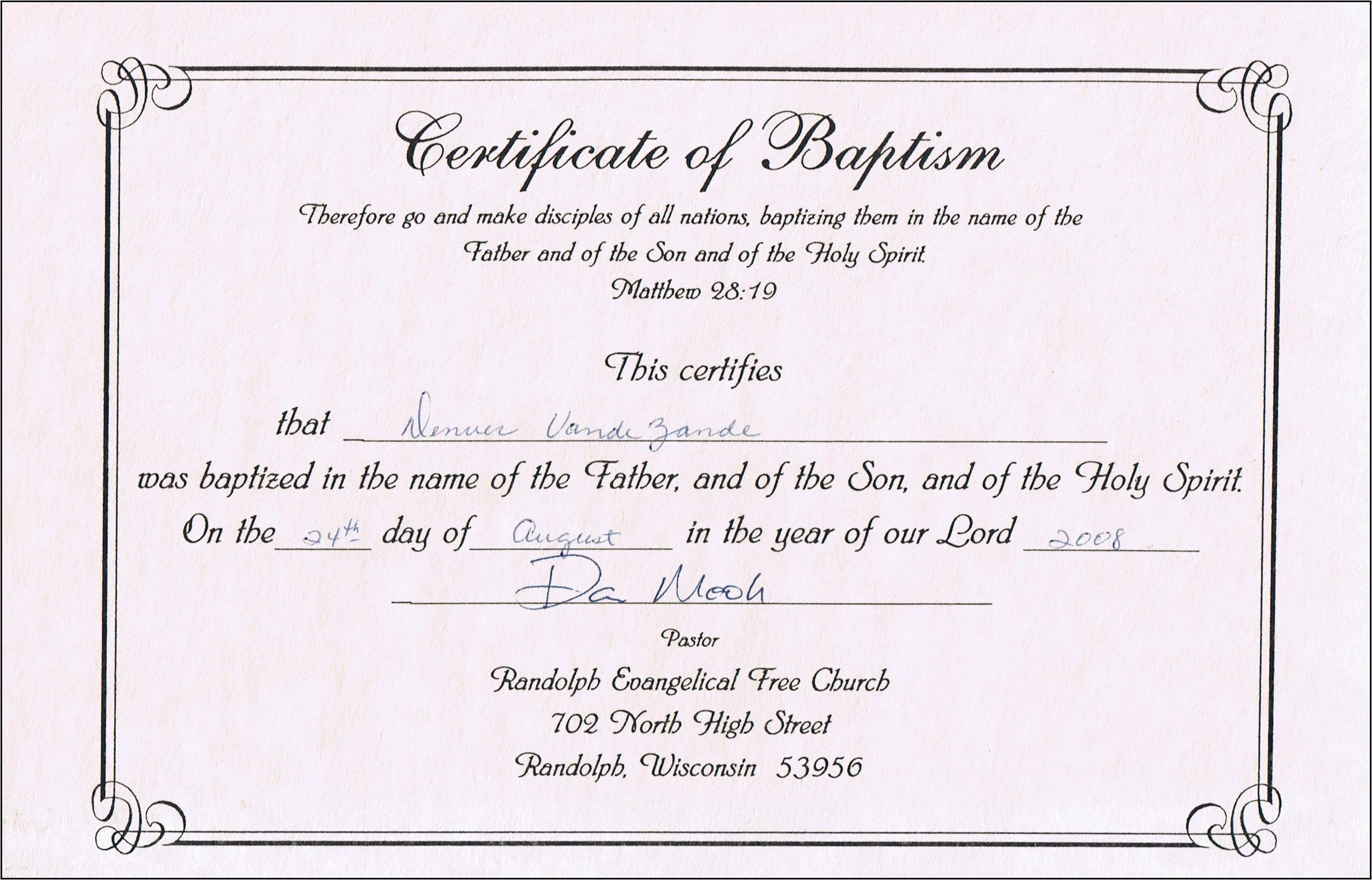 Free Water Baptism Certificate Template Baptism Certificate Templates for Word aspects Of Beauty
