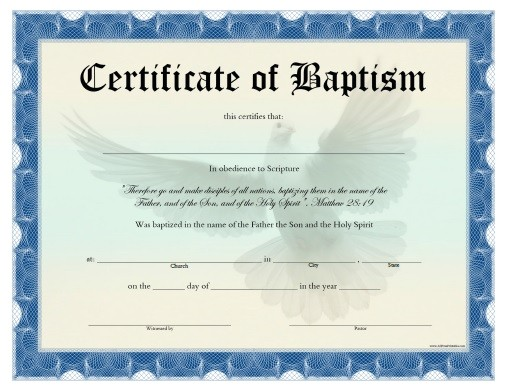 Free Water Baptism Certificate Template Search Results for Baptismal Certificates Calendar 2015