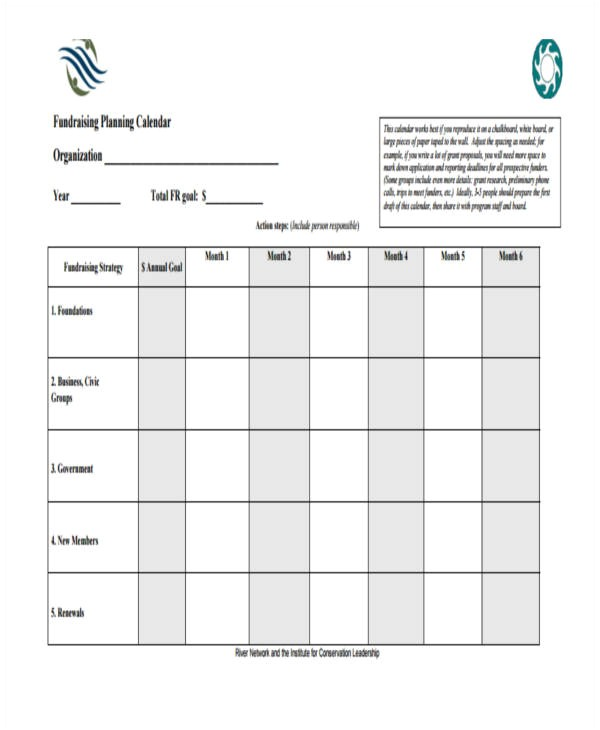 Fundraising Calendar Template 10 Planning Calendar Templates Free Sample Example
