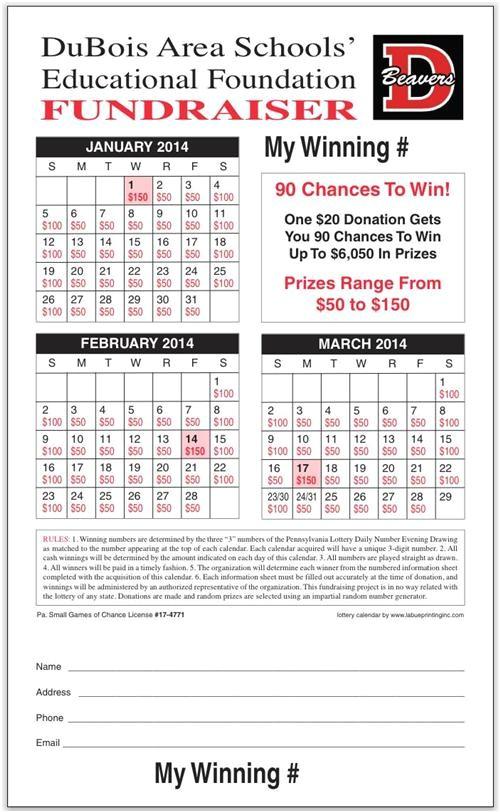 lottery calendar fundraiser template