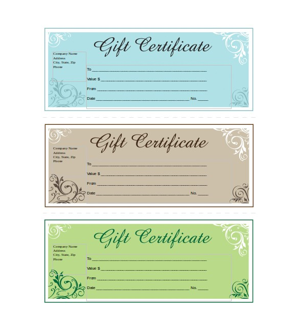 sample business gift certificate