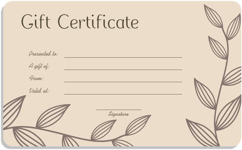 blank gift certificate word