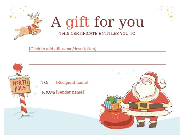Gift Certificate Template Free Download Christmas Gift Certificate Template 16 Word Pdf