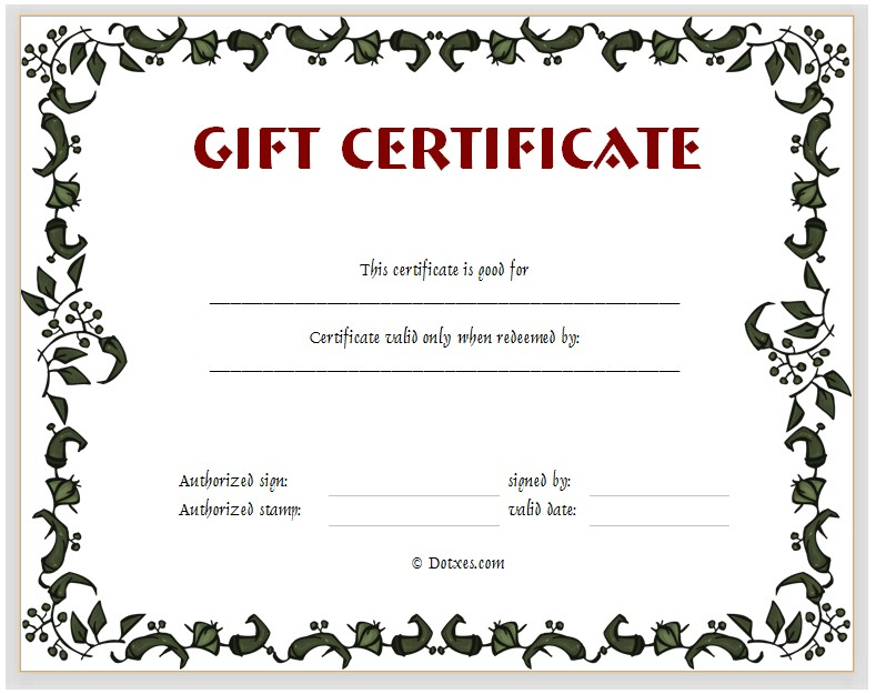 Gift Certificate Template Word Free Download Gift Certificate Template Floral Design Dotxes