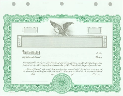 Goes Stock Certificate Template Blank Certificates Corporation Goes Kg2 Green