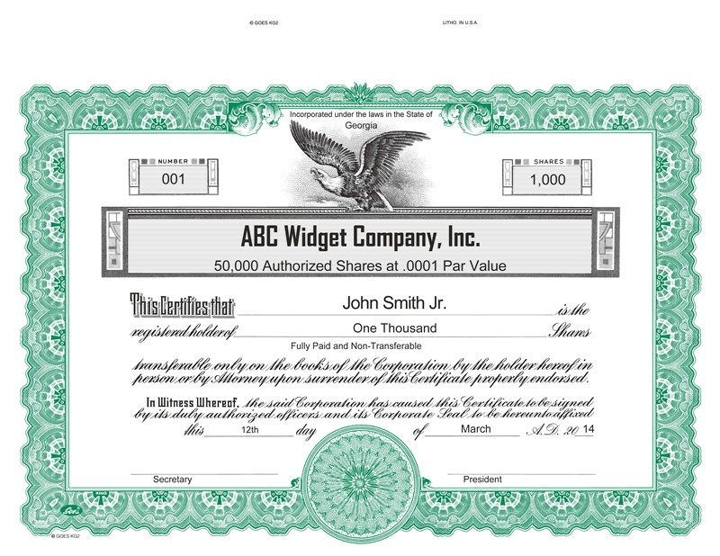 Goes Stock Certificate Template Goes Kg2 Certificates