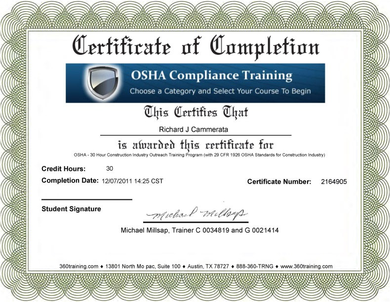H2s Certification Card Template Blank Osha Certificates Bing Images
