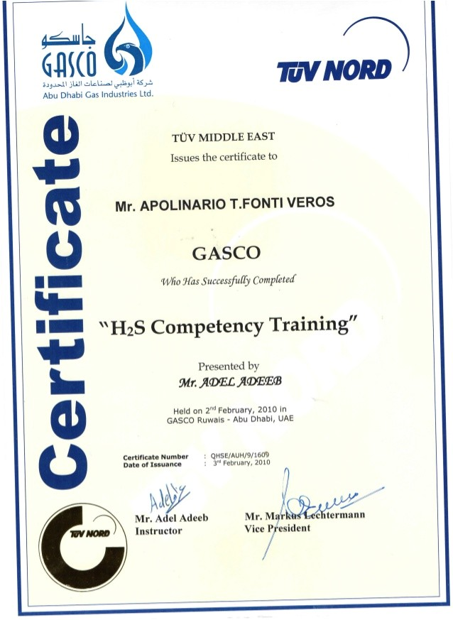 H2s Certification Card Template H2s Competency Certificate
