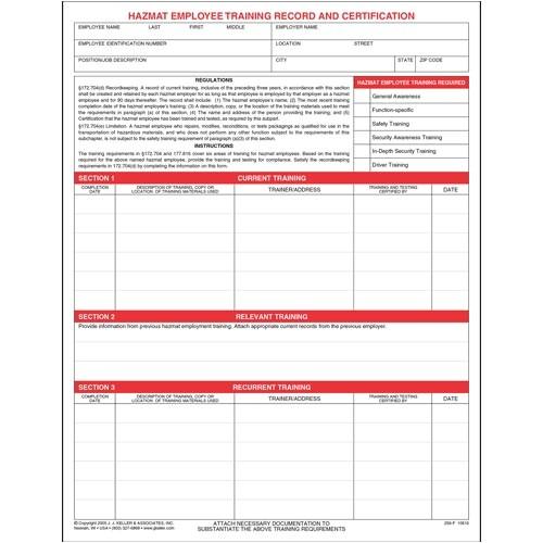 Hazmat Training Certificate Template Hazmat Employee Training Record Certification form