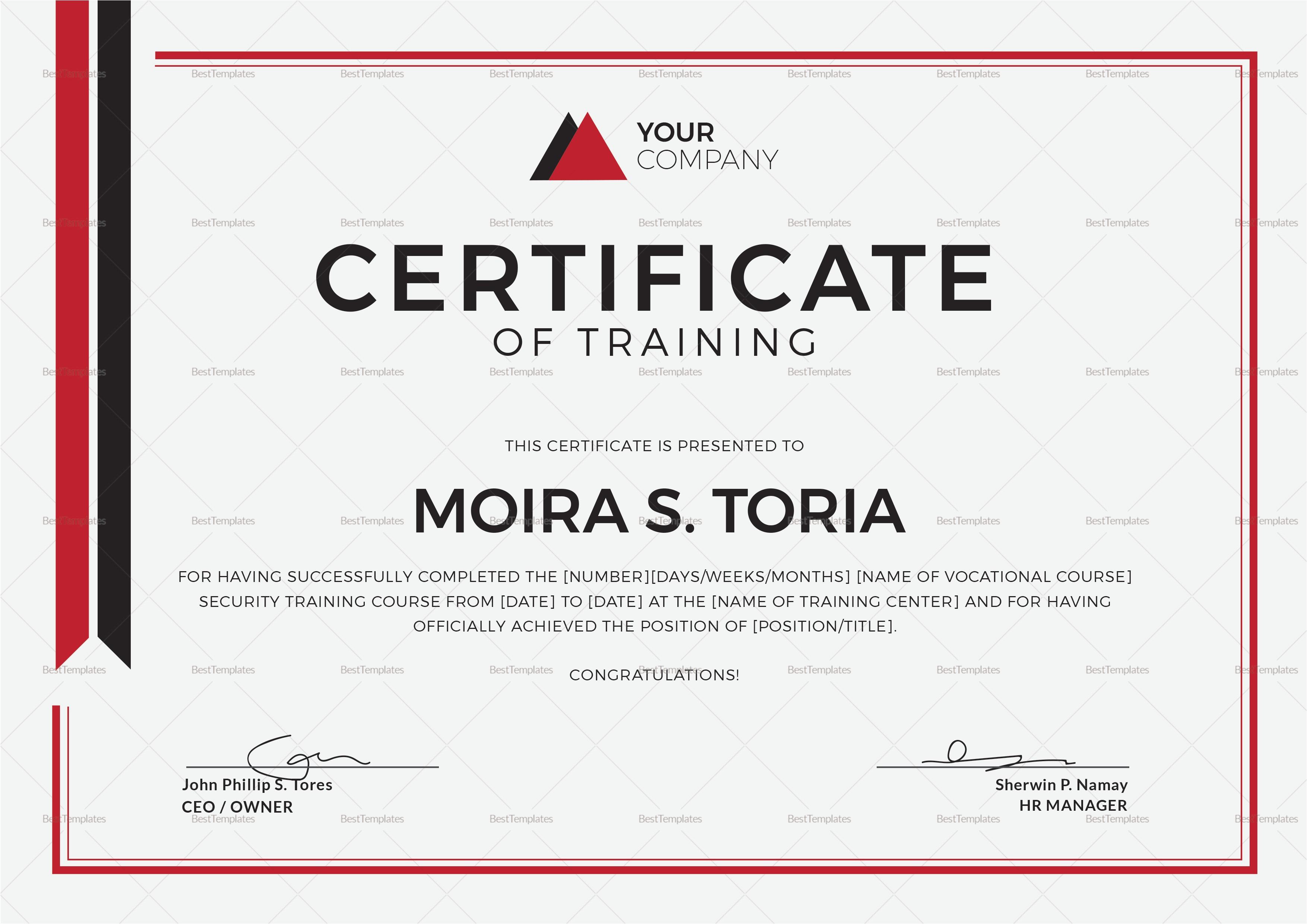 security training certificate