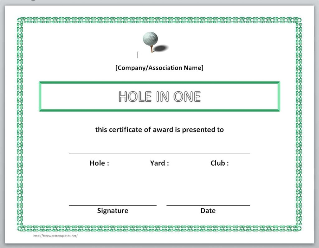 Hole In One Certificate Template 13 Free Certificate Templates for Word Microsoft and