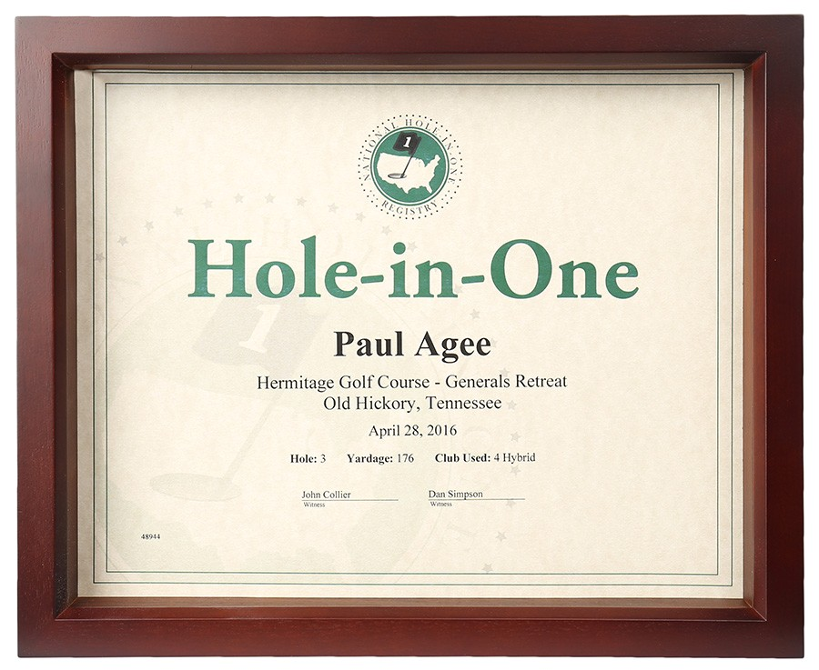 Hole In One Certificate Template Hole In One Shadow Box Certificate Frame Only 45 00