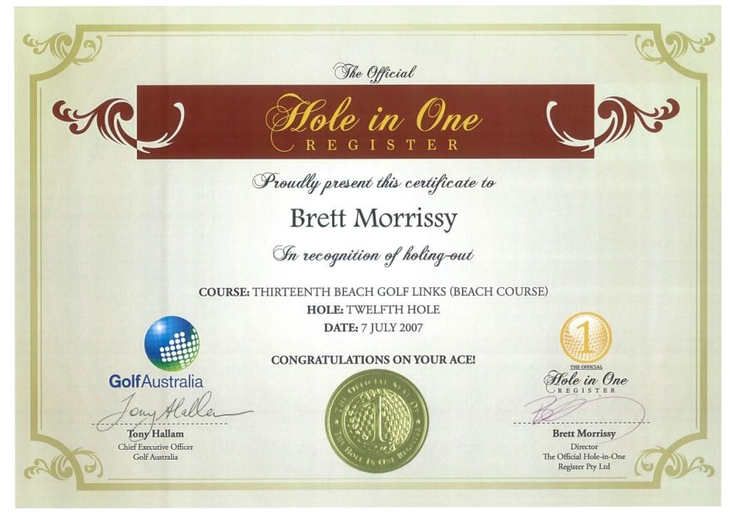 Hole In One Certificate Template Printable Golf Gift Certificate Template Quotes