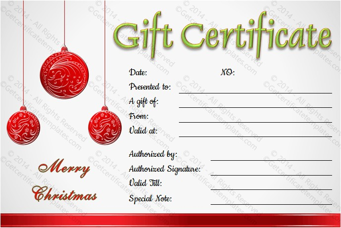 Holiday Gift Certificate Template Free Download Christmas Balls Gift Certificate Template