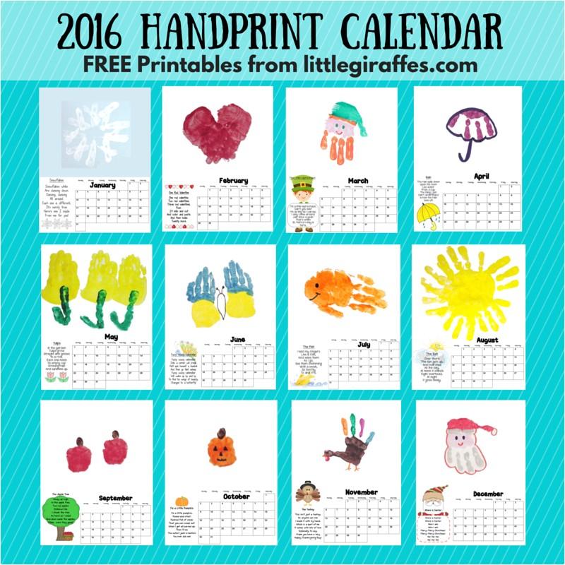 Homemade Calendar Template Handprint Calendar Little Giraffes Teaching Ideas A to